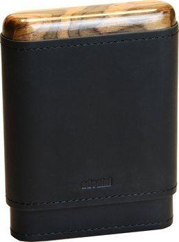 Adorini leren sigarenkoker zwart 3-5 sigaren houten boven- en onderkant