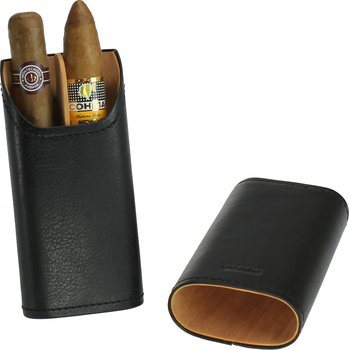 Adorini sigarenhoes echt leer zwart 2-3 sigaren