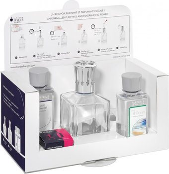 Lampe Berger Starter Set: Doorzichtige Glazen Kubus + 180 ml Neutre + 180 ml Oceaangeur