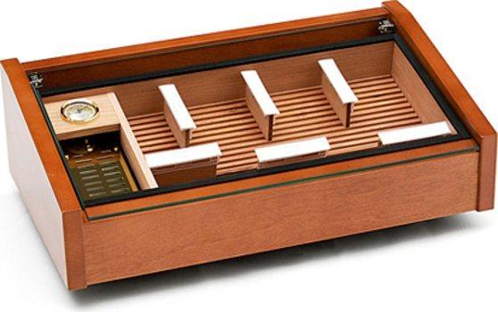Vega (acajou) - cave à cigare avec couvercle vitré Deluxe